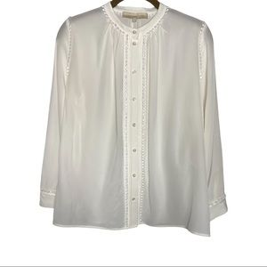 Vanessa Bruno Lace Trimmed Silk Blouse Size 2